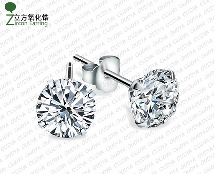 Guaranteed 100% 925 silver With Zircon Earrings_Simple Love CZ0001E