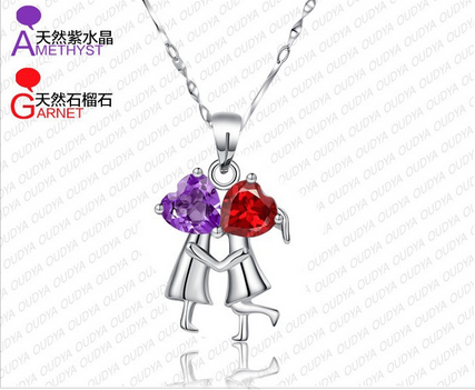 Guaranteed 100% Sweet jewelry 925 silver With Natural Garnet + Amethyst Pendant_BOY&GIRL