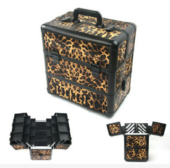 3 layers big yards Leopard Beauty Professional Makeup Tools beauty case