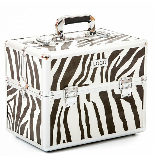 Classic Metal Zebra Makeup Train Beauty Case Box
