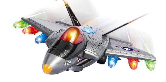 Kids model jet plane Light up battery operated motor driven bump and go musical electric flying plane