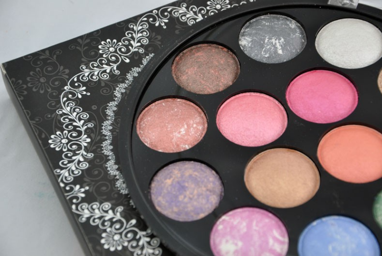 14 color baked powder makeup with eyeshadow and blush kit