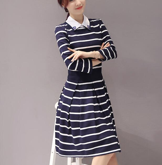 zm32537a elegant long one piece dress autumn lady fashion stripe design dresses