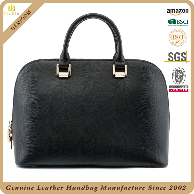 CSS1913-001 fashion shell shape two compartment black indonesia leather bag for woman