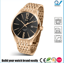 Build your watch brand easily stainless steel case PVD rosegold stainless steel strap slim ladies watch
