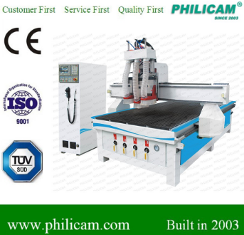 sculpture wood carving cnc router machine/1325 cnc three heads router