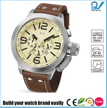 Build your watch brand easily multifunctional man watch band genuine leather 30 meters-100 meters water resistant big case