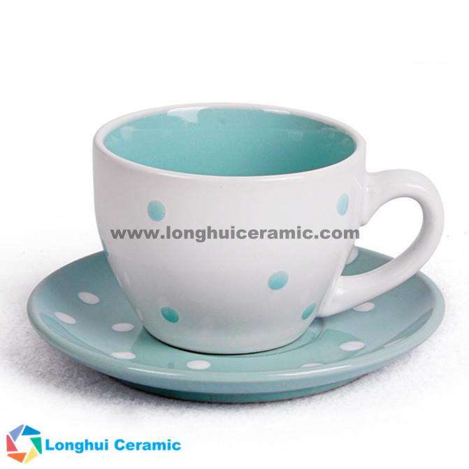 Pure colorful glazed ceramic coffee cup&saucer with small dots printed