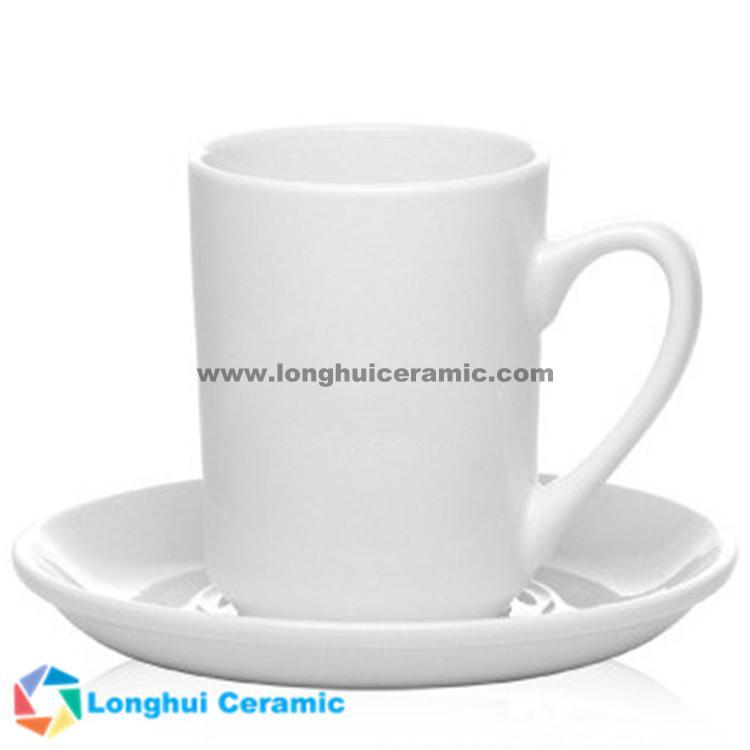 8oz Custom restaurant grade white porcelain coffee mug&saucer