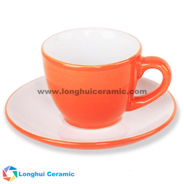 80cc tone pure color glaze ceramic cups and saucers