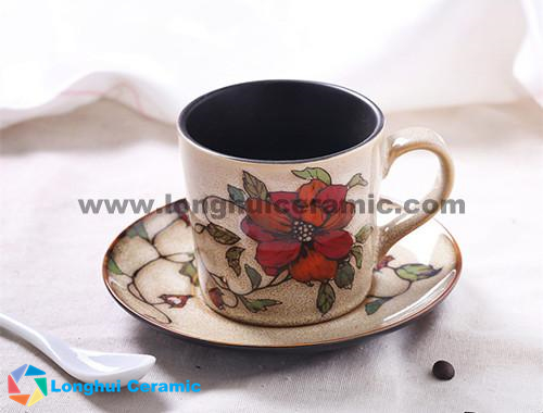 200cc flower branch handprinted ceramic coffee cup&saucer