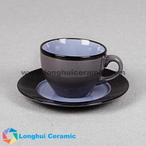 Colorful glazed ceramic coffee cup&saucer
