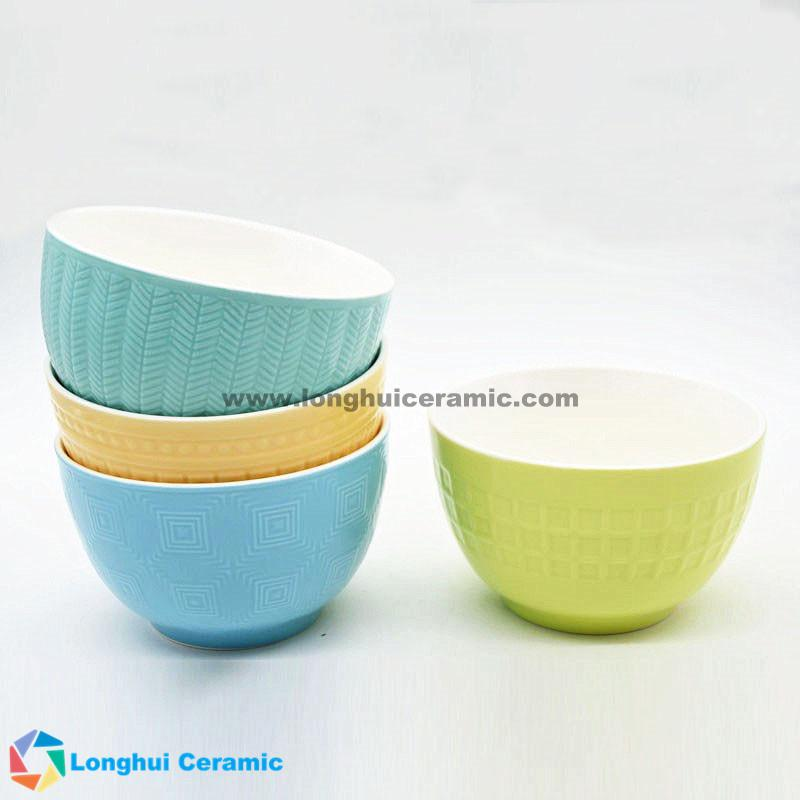 Customized hot sale color embossed ceramic bowl