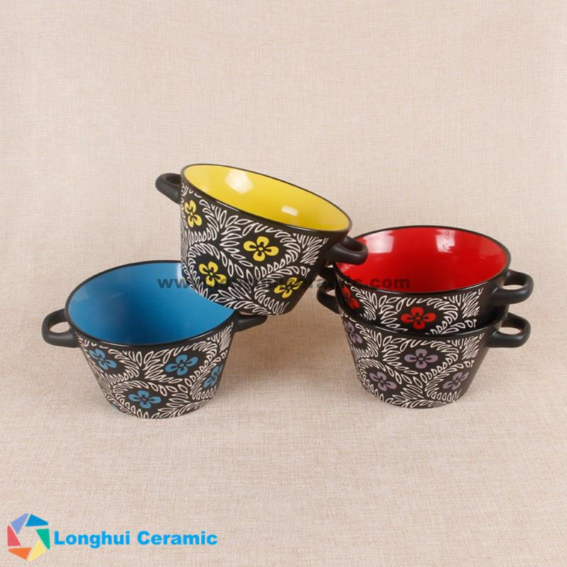 5.5'' Two-tone color unique flower pattern ceramic soup bowl with two ears