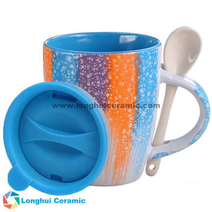 340cc glaze brushed ceramic coffee mug with spoon