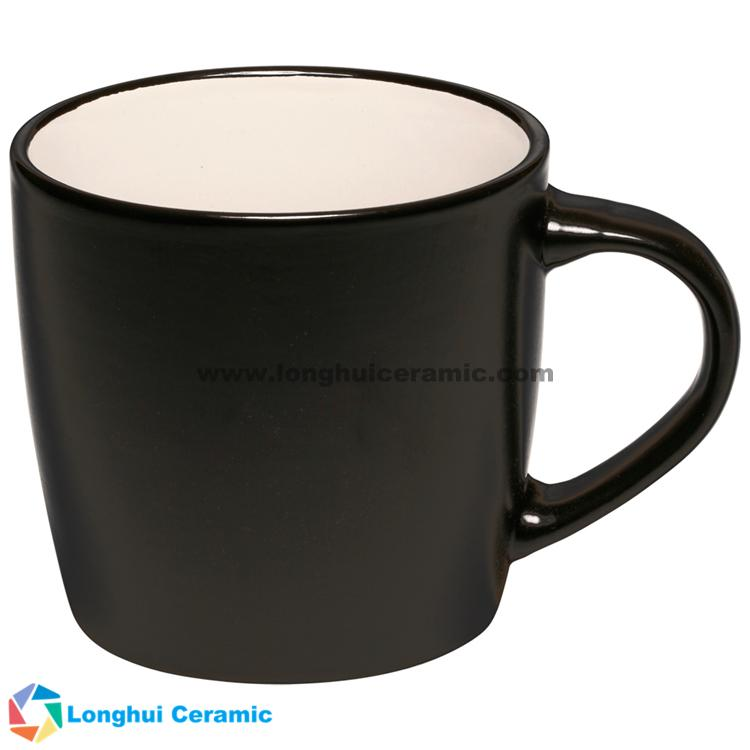 12oz Classic two-tone matte customized large logo ceramic tea mug