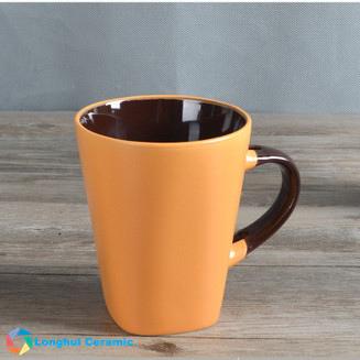 Frosted matte ceramic coffee mug series - round top square bottom