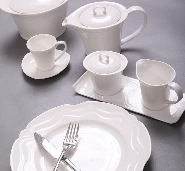 Hotel restaurant ceramic dinner service tableware white design ceramic porcelain dinner set