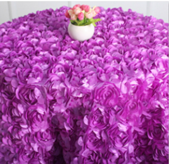 Purple Embroidered Flower Design Table Cloth For Wedding/Party/Show