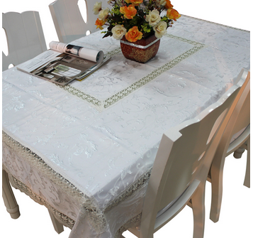 Embroidered flower design lace table cloth with the fabric