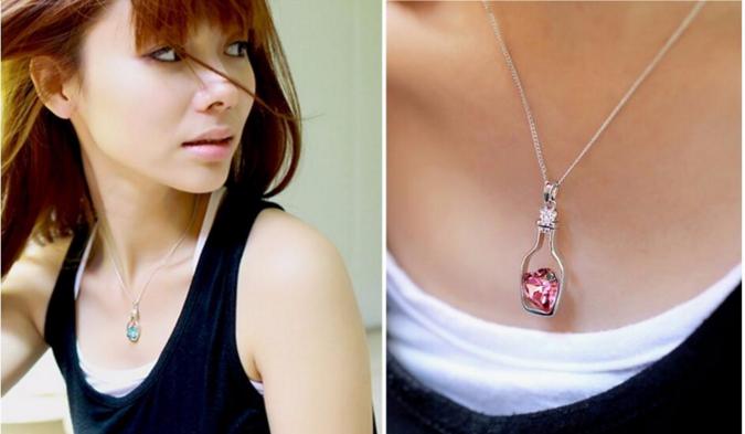 Retro bottles necklace