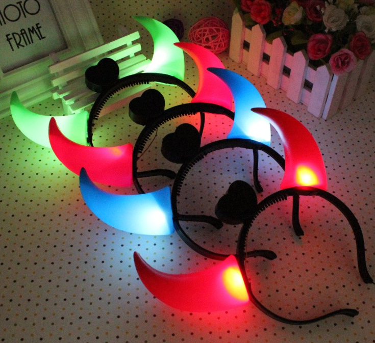 Led Flashing Halloween Party Demon Ox Horns Headband