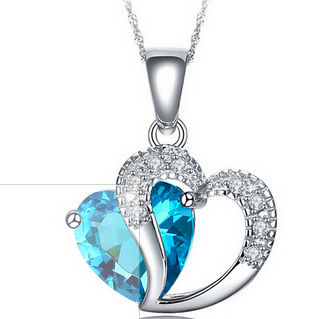 Multi-Color Heart Jewelry For Women CZ Diamond Heart Necklace With Chain Necklaces & Pendants