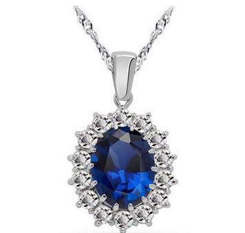 Vintage British Kate Princess Diana William Engagement Wedding Blue Sapphire Pendant Necklace
