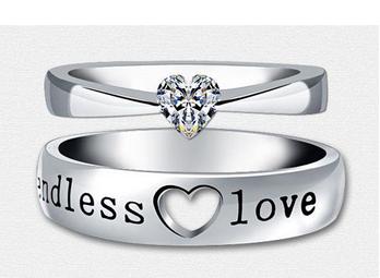 2016 Heart Zircon Endless Love Engagement Ring ,Wedding Couple Rings Aneis de Diamante Mens Rings