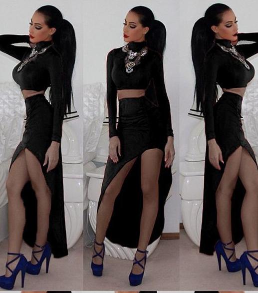 Finejo Lady Women Casual Short Front Long Back Black Dress Including Crop Top And Irregular Slim Skirt Set EU000244