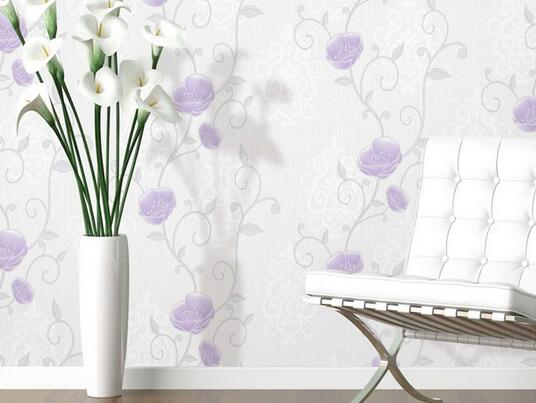 Stylish natural black and white vinyl wall paper