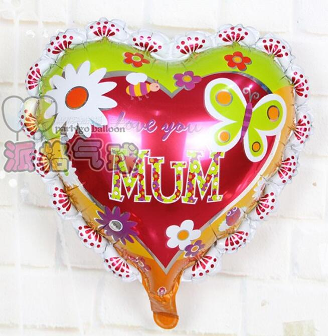 18 inch red heart shaped decoration foil balloons for mother's day