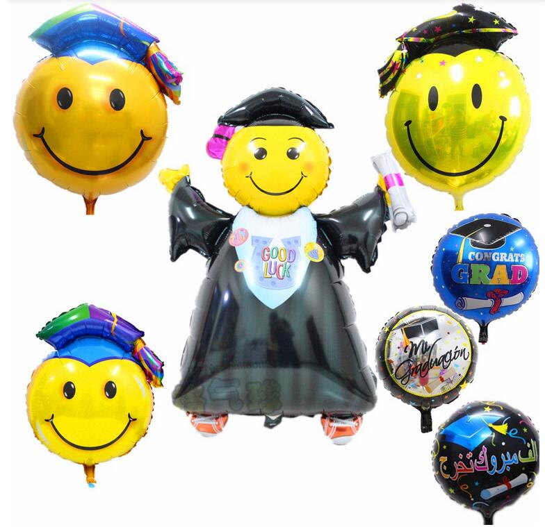Graduate smiling face foil helium balloons for kids birthday decoration