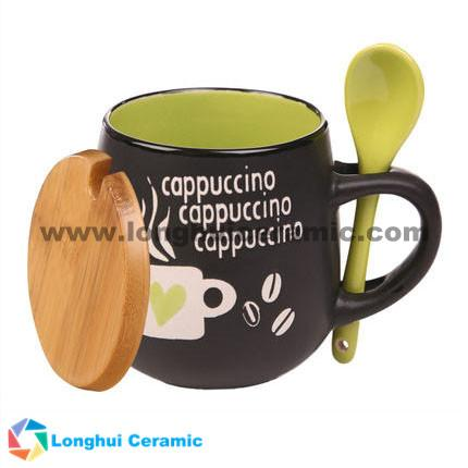 11oz love design ceramic cappuccino cup with spoon and lid