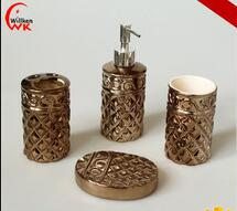 Luxury electroplated gold ceramic bathroom accessory set