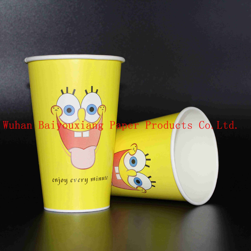 Customized Logo 14oz Disposable double wall paper cup drink cups