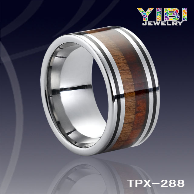 Colorful Handmade Hawaii Wood Ring,American KOA Wood Jewelry,Black Line Tungsten Wedding Bands Jewelry