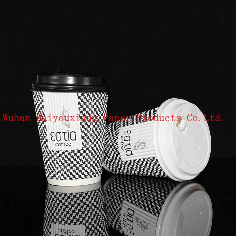 Customized Logo 22oz Disposable ripple wall milk cup