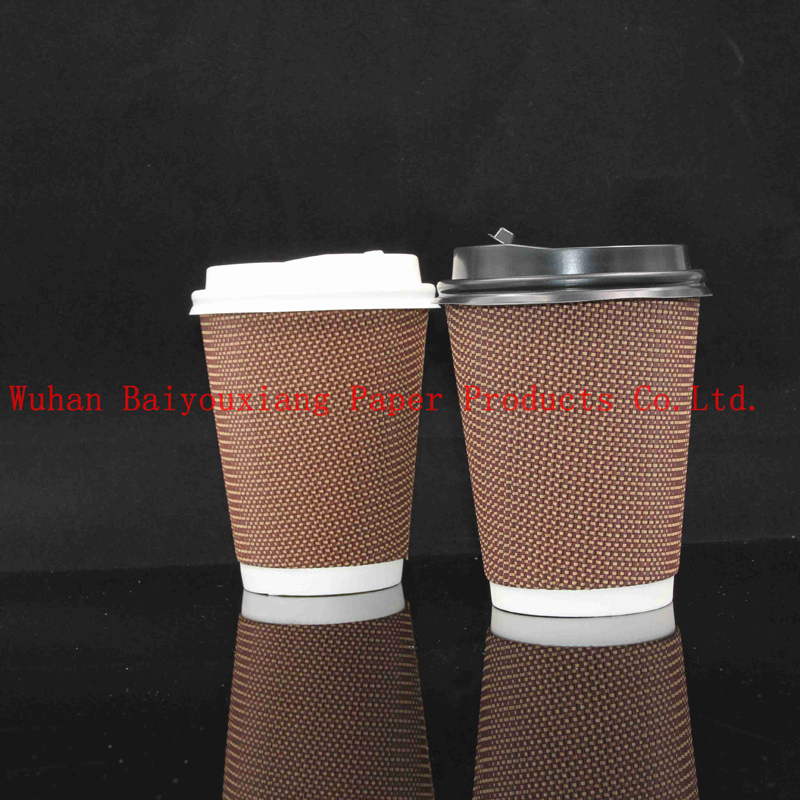 Customized Logo 12oz Disposable ripple wall milk cup