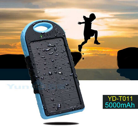 Waterproof Dual USB Solar Power Bank Charger External Battery for iPhone 6 HTC XIAOMI LENOVO 5000mah