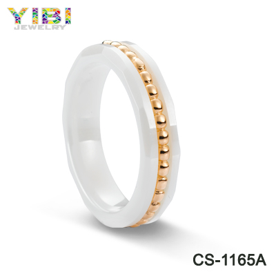 2016 new design rose gold fashion promise wedding band ceramic ring