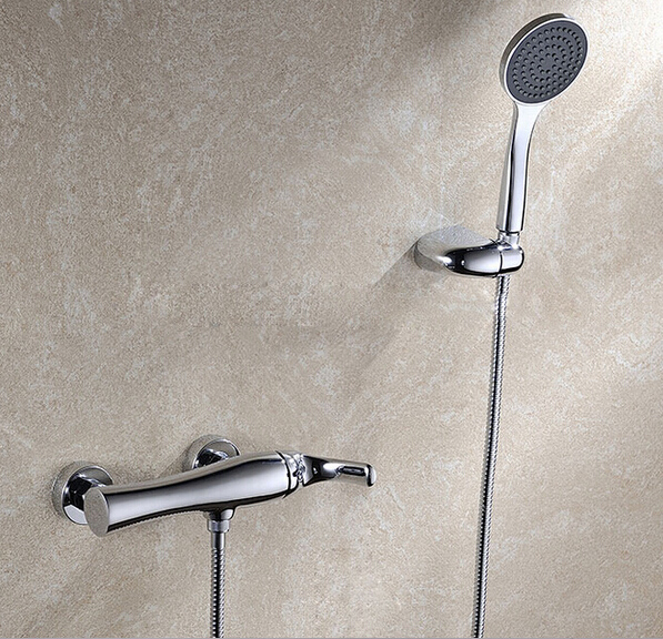 Chrome Brass In-Wall Bathroom Rain Shower Faucet Mixer