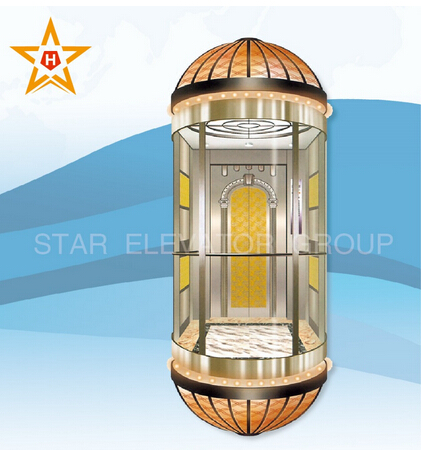630-1600kg MRL Capsule Observation lift elevator for outdoor
