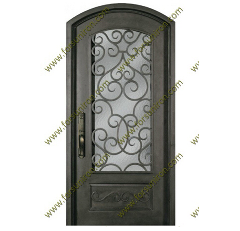 Interior/Exterior eyebrow arch top single iron doors