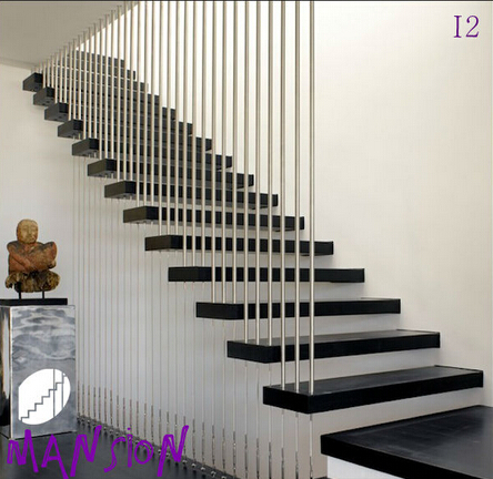 Modern Interior Open Riser Wood Floating Stair Kits