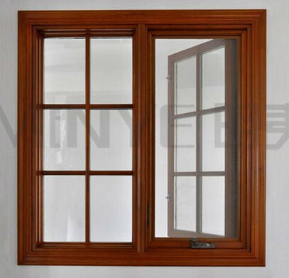 wood aluminum window/elegant wooden grain double open casement door /interior glass wood double door and window