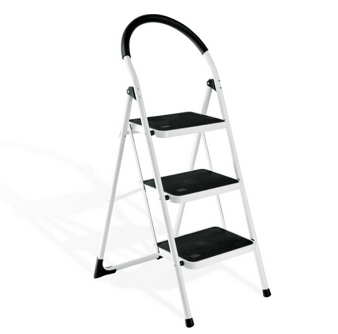 Folding Lightweight Step Ladder, Step Stool with Rail, 4-steps White and Black