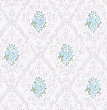 country style flowers wall paper sky blue