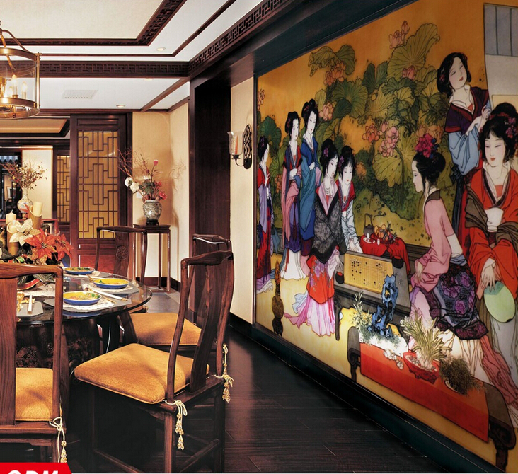 wall art mural ancient elegant women Chinese classic painting wallpapers