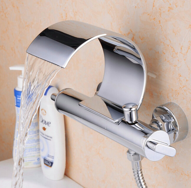 Beelee BL3025W Stylish Wall Mounted Bathtub Mixer Tap C Shape Waterfall Bath Shower Faucet
